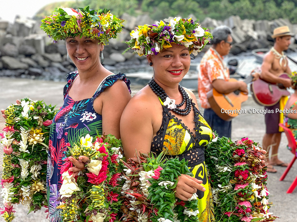 Shore Greeting, Polynesian Woman, with lei, Omao, Fatu Hiva, Marquesas, French Polynesia, South Pacific