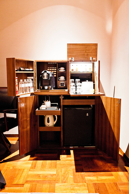 Mini-bar in a travel trunk at Les Suites Orient boutique hotel on The Bund.