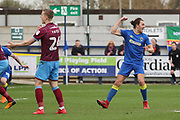 AFC Wimbledon defender Will Nightingale (5) celebrating after scoring goal to make it 1-0 during the EFL Sky Bet League 1 match between AFC Wimbledon and Scunthorpe United at the Cherry Red Records Stadium, Kingston, England on 7 April 2018. Picture by Matthew Redman.