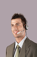 Businessman wearing headset portrait