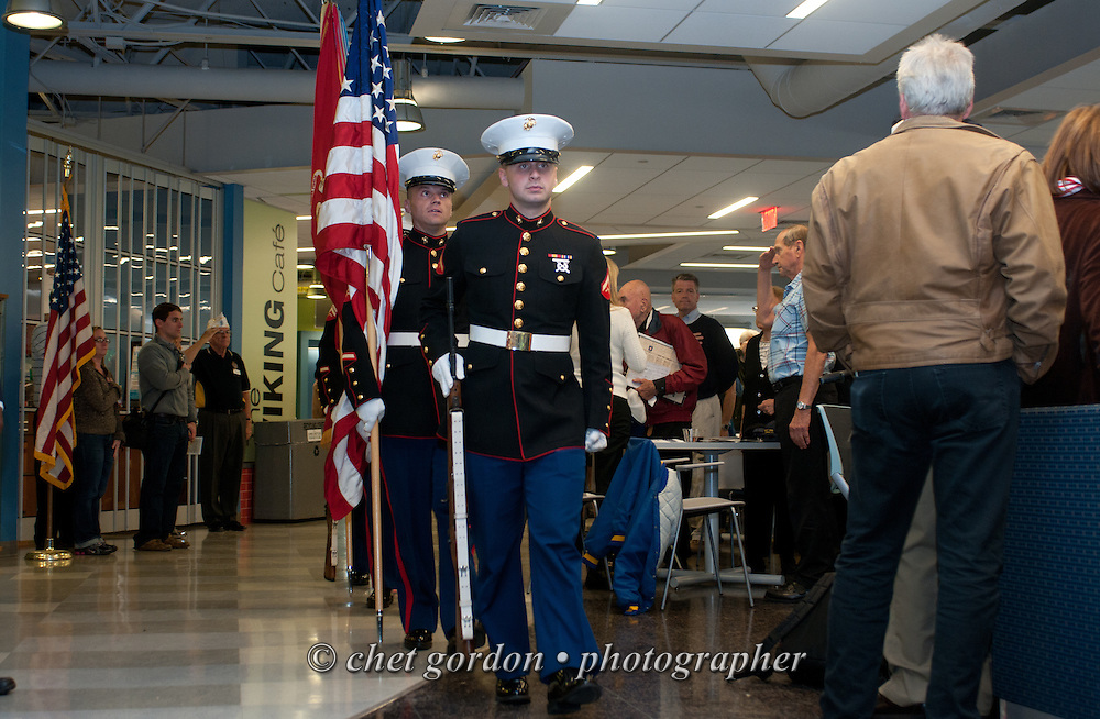"Hudson Valley Honor Flight ""Meet and Greet"" at Westchester Community College in Valhalla, NY on Sunday, October 5, 2014. Nearly one hundred WWII Veterans and their escorts will be onboard the Hudson Valley Honor Flight's inaugural flight from Westchester County Airport to Washington, DC on October 18th.  © www.chetgordon.com"