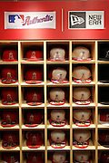 ANAHEIM, CA - MAY 15:  Los Angeles Angels of Anaheim caps are on sale at the game against the Oakland Athletics on Tuesday, May 15, 2012 at Angel Stadium in Anaheim, California. The Angels won the game 4-0. (Photo by Paul Spinelli/MLB Photos via Getty Images)