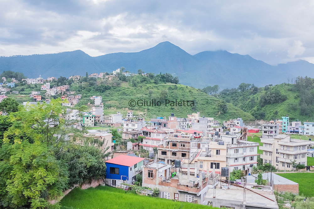 View of the mountain and the village from Pastor Tanka's office in Patan, Kathmandu, Nepal