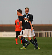 Josh Skelly is congratulated after scoring Dundee's equaliser by Martin Boyle - Dundee v Dundee United, SPFL Development League at Gayfield, Arbroath<br /> <br />  - &copy; David Young - www.davidyoungphoto.co.uk - email: davidyoungphoto@gmail.com