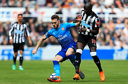 Calum Chambers of Arsenal battles with Mohamed Diame of Newcastle United - Mandatory by-line: Matt McNulty/JMP - 15/04/2018 - FOOTBALL - St James Park - Newcastle upon Tyne, England - Newcastle United v Arsenal - Premier League