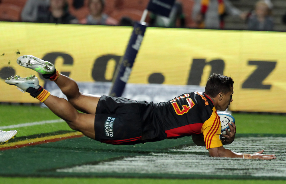 Chiefs' Tim Nanai-Williams scores a try against the Sharks in a Super Rugby match, Waikato Stadium, Hamilton, New Zealand, Saturday, April 27, 2013.  Credit:SNPA / David Rowland