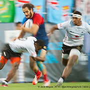 Teams compete in pool play for the USA Sevens leg of the 2015 HSBC Sevens World Series  at Sam Boyd Stadium in Las Vegas, Nevada. Friday February 13, 2015.<br /> <br /> COPYRIGHT &copy; JACK MEGAW, 2015. <br /> <br /> www.jackmegaw.com