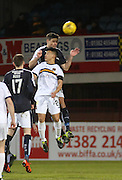 Dundee&rsquo;s Darren O&rsquo;Dea outjumps Dumbarton&rsquo;s Kler Heh - Dundee v Dumbarton, William Hill Scottish Cup Fifth Round at Dens Park<br /> <br />  - &copy; David Young - www.davidyoungphoto.co.uk - email: davidyoungphoto@gmail.com