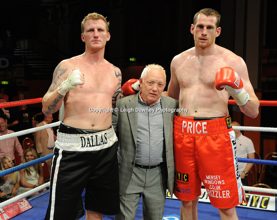 Left to right: Tom Dallas, Frank Maloney, David Price. Price claims the British Heavyweight Title Eliminator contest at Olympia, Liverpool on the 11th June 2011. Frank Maloney Promotions.Photo credit: Leigh Dawney 2011