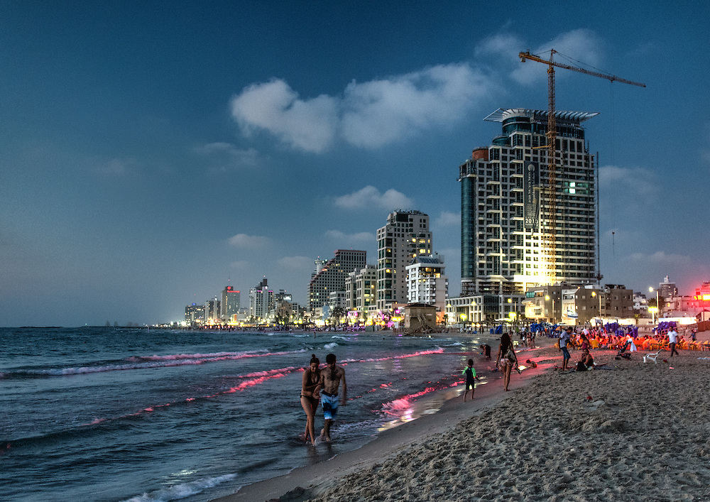 Tel Aviv beach at sunset