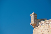 Architecture detail of Castillo de Santa Barbara stands on Mount Benacantil, 166 metres above the city of Alicante, Alicante province, Spain