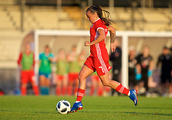 NEWPORT, WALES - Tuesday, June 12, 2018: Wales' Natasha Harding scores the third goal during the FIFA Women's World Cup 2019 Qualifying Round Group 1 match between Wales and Russia at Newport Stadium. (Pic by David Rawcliffe/Propaganda)