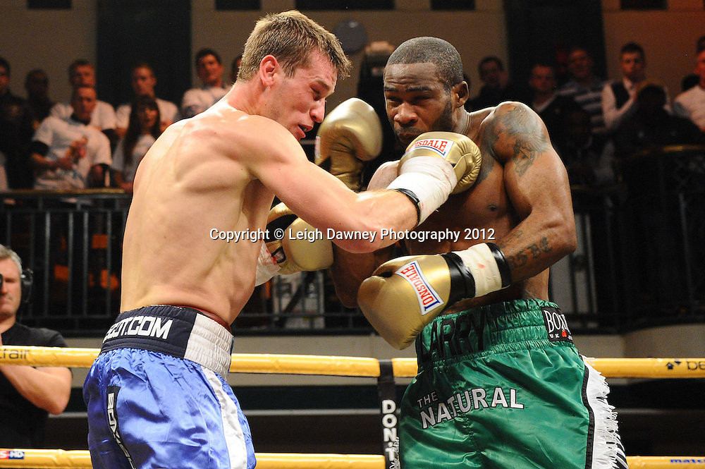 Larry Ekundayo defeats Craig McEwan in Quarter Final One, Prizefighter at York Hall, Bethnal Green, London on the 1st November 2012. Frank Warren Promotions. © Leigh Dawney Photography 2012.