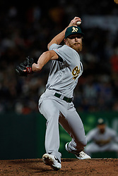 SAN FRANCISCO, CA - AUGUST 13: Jake Diekman #35 of the Oakland Athletics pitches against the San Francisco Giants during the seventh inning at Oracle Park on August 13, 2019 in San Francisco, California. The San Francisco Giants defeated the Oakland Athletics 3-2. (Photo by Jason O. Watson/Getty Images) *** Local Caption *** Jake Diekman
