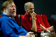 """An attendee at """"Celebrating two progressive icons — The Capital Times at 100 and the late Ed Garvey"""" thinks during the Cap Times 2017 Idea Fest, Saturday, September 16, 2017"""
