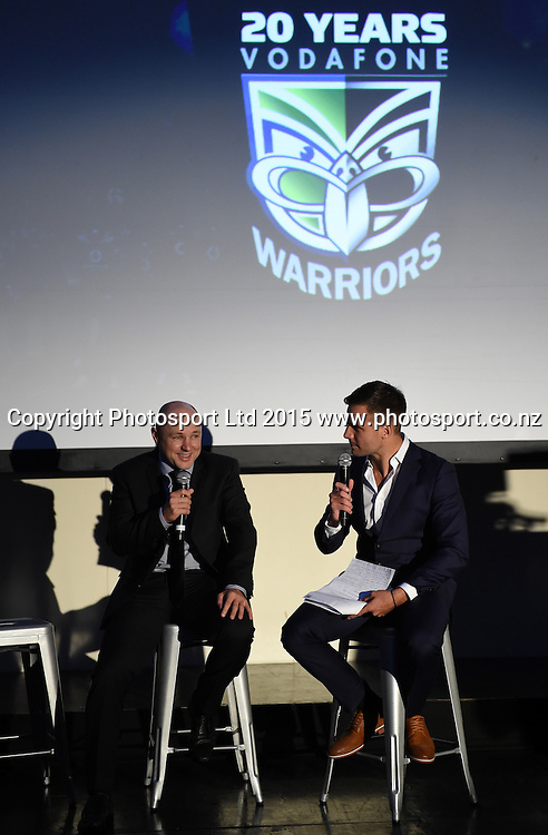 Andrew McFadden and Beau Ryan. Vodafone Warriors Season Launch. NRL Rugby League. Sky City Grand Hotel. Auckland, New Zealand. Wednesday 18 March 2015. Copyright Photo: Andrew Cornaga / www.Photosport.co.nz