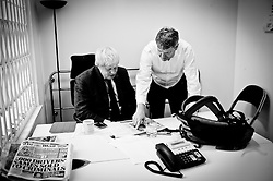 Boris in his Campaign office after the LBC Mayoral Debate, April 4, 2012 . Photo by Andrew Parsons/i-Images..