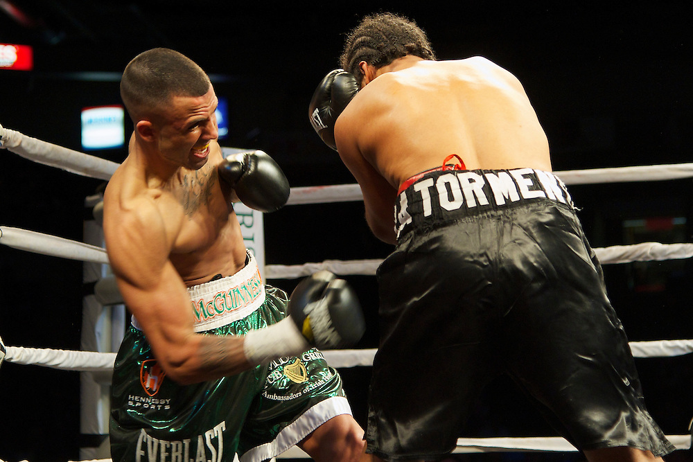 Boxing at the Hershey Centre  In the main event of the evening Logan Cotton McGuinness improved to 14-0-1, 7KO's in impressive style as he successfully defended his NABA Lightweight championship by stopping rugged veteran Hector Julio Avila