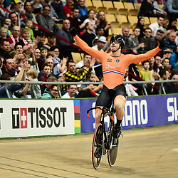 03-03-2019: WK wielrennen: Baan: Pruszkow<br />- Cycling - UCI Track Cycling World Championships presented by Tissot - Velodrome BGZ Arena, Pruszkow, Poland - Men's Sprint gold finals  Harrie Lavreysen of The Netherlands celebrates winning.