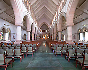 The interior of St, Andrew's Cathedral. Located in downtown Honolulu.