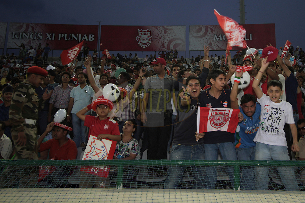 Fans during match 9 of the Indian Premier League ( IPL ) Season 4 between the Kings XI Punjab and the Chennai Super Kings held at the PCA stadium in Mohali, Chandigarh, India on the 13th April 2011..Photo by Anil Dayal/BCCI/SPORTZPICS