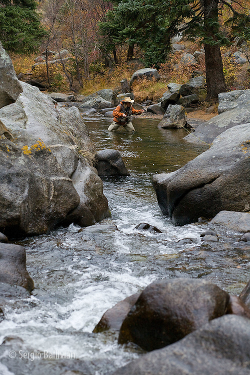 A fly fisherman casts in a small creek in Autumn near Boulder, Colorado.
