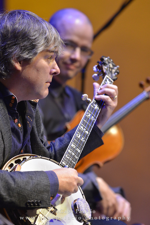 Brooklyn Rider with B&eacute;la Fleck perform in the Venetian Theater at Caramoor in Katonah New York on September 19, 2014. <br /> (photo by Gabe Palacio)