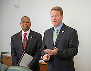 Ohio Secretary of State Jon Husted presentf Ohio University President Roderick McDavis with a commendation congratulating him on his anticipated retirement after 12 years of service to the faculty and students. © Ohio University/ Photo by Ben Siegel