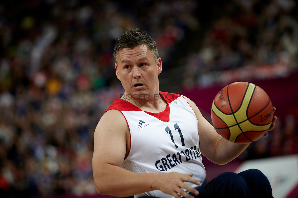 Matt Byrne of Great Britain in the Men's Wheelchair Basketball against of Colombia at the North Greenwich Arena on day 3 of the London 2012 Paralympic Games. 1st September 2012.