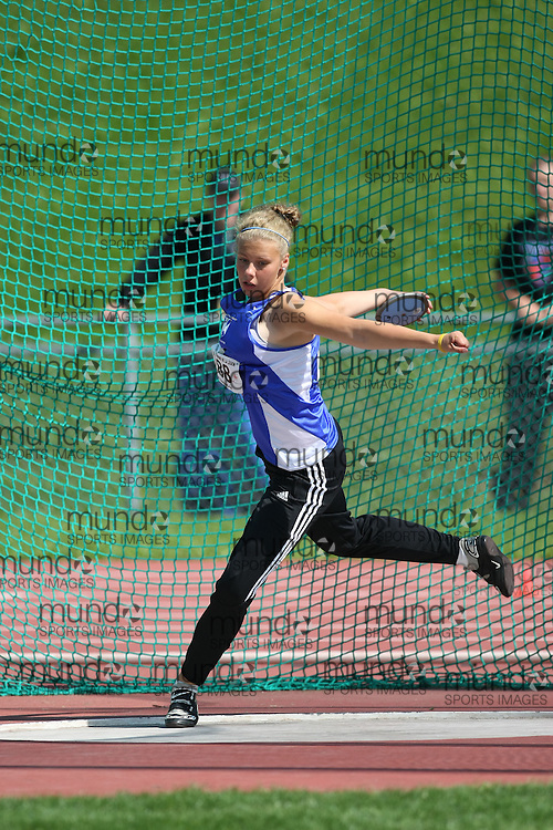 (Sherbrooke, Quebec---10 August 2008) Chelsea Whalen competing in the discus at the 2008 Canadian National Youth and Royal Canadian Legion Track and Field Championships in Sherbrooke, Quebec. The photograph is copyright Sean Burges/Mundo Sport Images, 2008. More information can be found at www.msievents.com.
