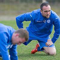St Johnstone Training...20.03.15<br /> Lee Croft pictured in training this morning at McDiarmid Park ahead of tomorrow's game against St Mirren...<br /> Picture by Graeme Hart.<br /> Copyright Perthshire Picture Agency<br /> Tel: 01738 623350  Mobile: 07990 594431