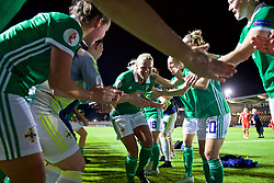 NEWPORT, WALES - Tuesday, September 3, 2019: Northern Ireland's captain Ashley Hutton runs through a guard of honour from her team-mates after her injury time equalising goal saved a point against Wales during the UEFA Women Euro 2021 Qualifying Group C match between Wales and Northern Ireland at Rodney Parade. The game ended in a 2-2 draw. (Pic by David Rawcliffe/Propaganda)