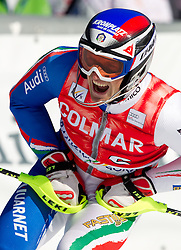 Manfred Moelgg of Italy reacts during 2nd Run of Men's Slalom of FIS Ski World Cup Alpine Kranjska Gora, on March 6, 2011 in Vitranc/Podkoren, Kranjska Gora, Slovenia.  (Photo By Vid Ponikvar / Sportida.com)