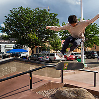 Ryan Bitsilly, 19, catches flight at the one year anniversary event for the skate park being opening in Gallup.