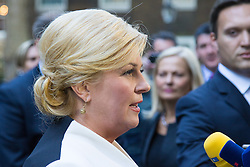 Downing Street, London, October 11th 2016. Croatian President Kolinda Grabar-Kitarović addresses the media after meeting British Prime Minister Theresa May at her official residence, 10 Downing Street.