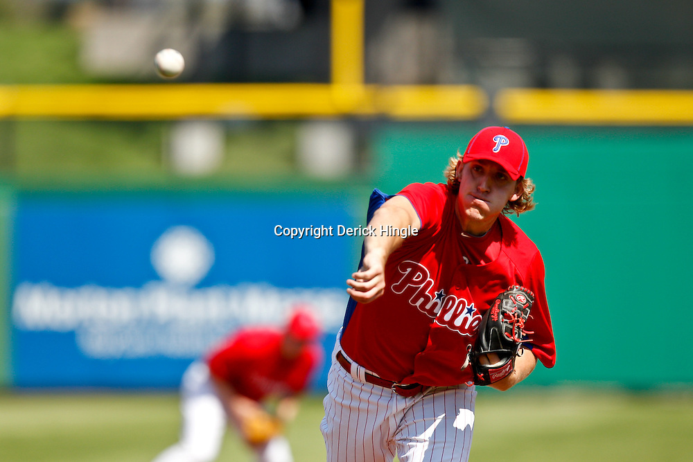 February 24, 2011; Clearwater, FL, USA; Philadelphia Phillies starting pitcher Drew Naylor (64) during a spring training exhibition game against the Florida State Seminoles at Bright House Networks Field. The Phillies defeated the Seminoles 8-0. Mandatory Credit: Derick E. Hingle