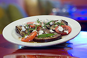 Eggplant, tomato, goats cheese and tarragon salad,with a sumac dressing.Moorish, Knuckey Street Darwin. Photo Shane Eecen