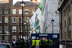 London, April 20th 2015. Scaffolding on a central London building site has collapsed, causing hundreds of people to be evacuated. The sacffolding had been erected as part of a demolition project on the Carey Street site, where new homes are to be built.