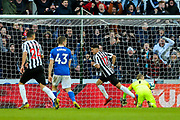 Ayoze Perez (#17) of Newcastle United scores Newcastle United's second goal (2-2) during the Premier League match between Newcastle United and Everton at St. James's Park, Newcastle, England on 9 March 2019.