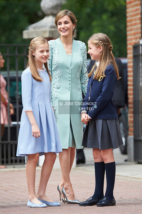 Queen Sofia of Spain, Princess Sofia, Crown Princess Leonor leave Asuncion de Nuestra Senora Church after the First Communion of Princess Sofia on May 17, 2017 in Aravaca near of Madrid.