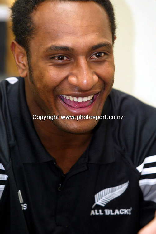 13th August 2003, Millennium Institute, North Shore, Auckland, New Zealand.  All Blacks press conference.<br />Joe Rokocoko.<br />Pic: Ollie Dale/Photosport