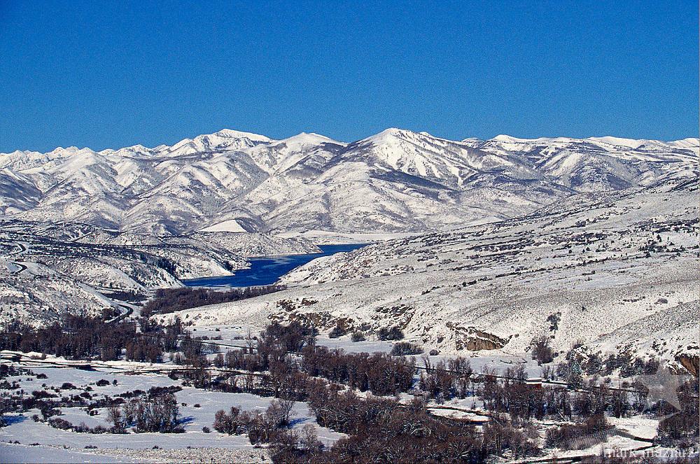 winter view from butte in Francis, Utah to Deer Valley Resort