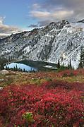 Lake Ann in autumn with fresh snowfall. North Cascades Washington