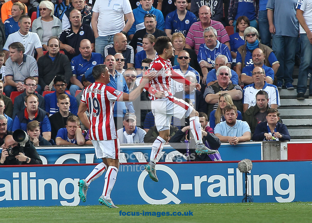 Bojan Krkic of Stoke City celebrates scoring the first goal against Leicester City during the Barclays Premier League match at the Britannia Stadium, Stoke-on-Trent.<br /> Picture by Michael Sedgwick/Focus Images Ltd +44 7900 363072<br /> 19/09/2015