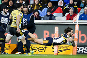 Andy Muirhead scores for the Brumbies during the Super Rugby match, Brumbies V Hurricanes, GIO Stadium, Canberra, Australia, 30th June 2018.Copyright photo: David Neilson / www.photosport.nz