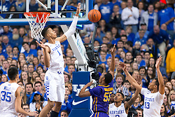 Kentucky forward Skal Labissiere blocked a shot by LSU guard Tim Quarterman in the first half. <br /> <br /> The University of Kentucky hosted the LSU Tigers, Saturday, March 05, 2016 at Rupp Arena in Lexington .