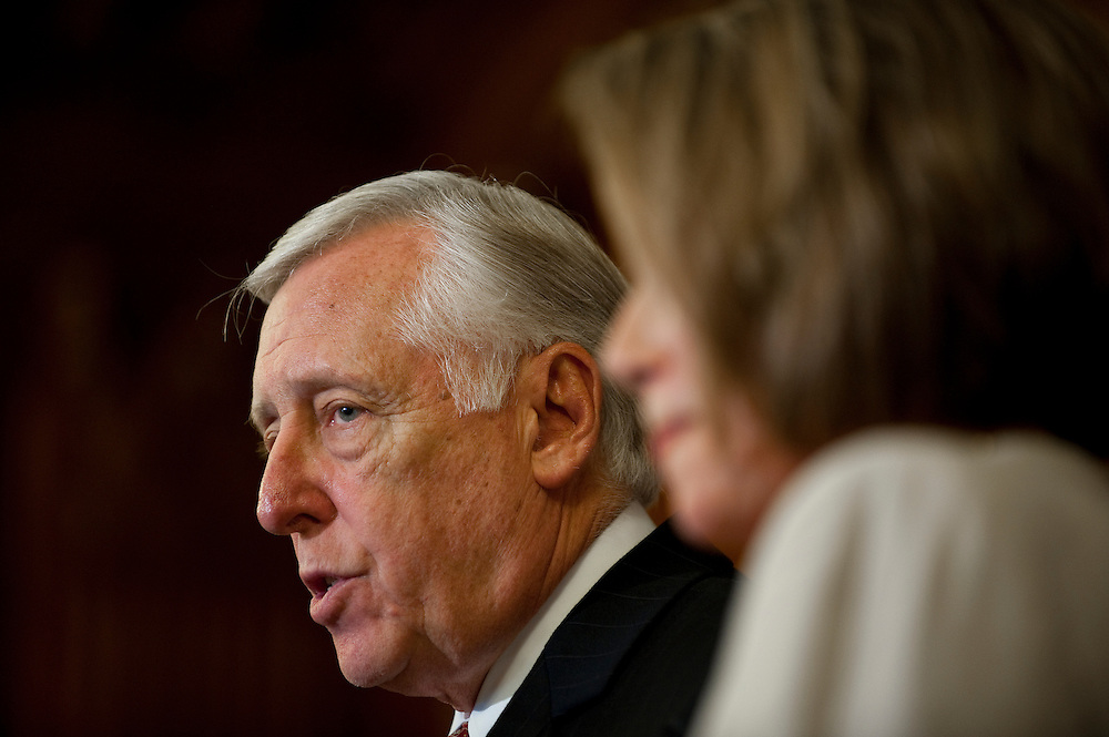 May 26, 2010 - Washington, District of Columbia, U.S., -  House Majority Leader, Steny Hoyer, speaks to the media about the new bochure produced by the Department of Health and Human Services which will be sent out to explain the benefits of the new health care law to those on Medicare..(Credit Image: © Pete Marovich/ZUMA Press)
