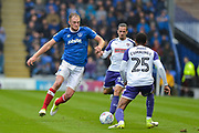 Portsmouth Defender, Matt Clarke (5) and Rotherham United Defender, Shaun Cummings (25) battle for the ball during the EFL Sky Bet League 1 match between Portsmouth and Rotherham United at Fratton Park, Portsmouth, England on 3 September 2017. Photo by Adam Rivers.
