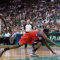 26 May 2012: Philadelphia Sixers point guard Jrue Holiday (11) dives for the loose ball during the Boston Celtics 85-75 victory over the Philadelphia Sixer, in Game 7 of the Eastern Conference semifinals playoff series, at the TD Banknorth Garden, Boston, Massachusetts, USA.