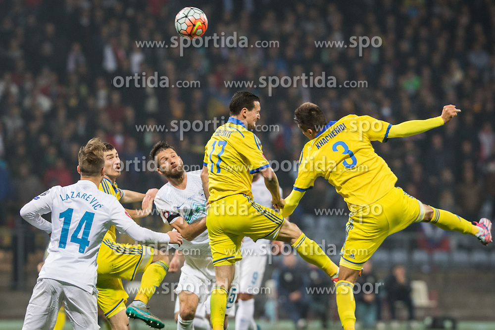 Dejan Lazarevic (SLO), Bostjan Cesar (SLO), Artem Fedetskiy (UKR), Yevhen Khacheridi (UKR) during the UEFA EURO 2016 Play-off for Final Tournament, Second leg between Slovenia and Ukraine, on November 17, 2015 in Stadium Ljudski vrt, Maribor, Slovenia. Photo by Ziga Zupan / Sportida
